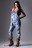 Attractive woman in dungarees. Stock Images