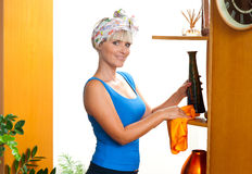Attractive woman dusting Stock Image