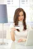Attractive woman electronic shopping Stock Photos