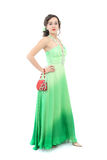 Attractive woman in elegant green dress Royalty Free Stock Image