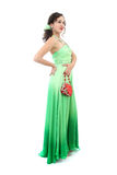 Attractive woman in elegant green dress Stock Images