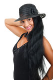 Attractive woman  with elegant  hat Royalty Free Stock Photo