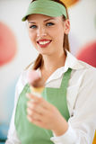 Attractive woman employed in candy store Royalty Free Stock Images