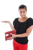 Attractive woman with empty wallet Stock Photo