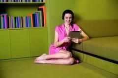 Attractive woman enjoying music Royalty Free Stock Image