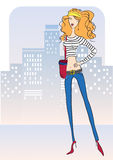 Attractive woman with fashion jeans.Vector illustr Royalty Free Stock Photos