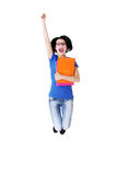 Attractive woman with files jumping. Showing fists, OK. Stock Photography