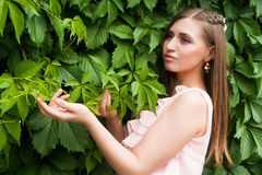 Attractive woman with flower hairstyle Royalty Free Stock Image