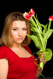 Attractive woman with flowers Royalty Free Stock Photos