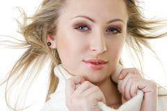 Attractive woman with fly-away hair Royalty Free Stock Photo