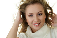 Attractive woman with fly-away hair Royalty Free Stock Image
