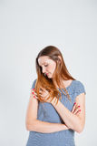 Attractive woman with folded arms Royalty Free Stock Images