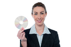 Attractive woman in formals holding CD Stock Image