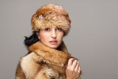 Attractive woman in fur Stock Photo