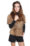 Attractive woman in fur Stock Photography