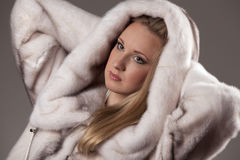 Attractive woman in fur coat Stock Image