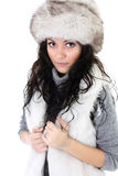 Attractive woman in fur hat Stock Photos