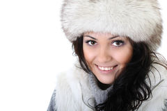Attractive woman in fur hat. Young attractive woman in fur hat Stock Photos