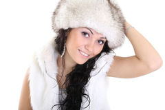 Attractive woman in fur hat Royalty Free Stock Photos