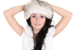 Attractive woman in fur hat. Young attractive woman in fur hat isolated over white background Royalty Free Stock Photos