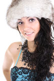 Attractive woman in fur hat. Young attractive woman in fur hat isolated over white background Stock Photo