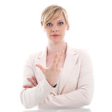 Attractive woman gesticulating with her hand Stock Photography