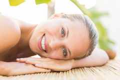 Attractive woman getting massage on her back Royalty Free Stock Images