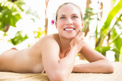 Attractive woman getting massage on her back Stock Photo