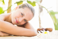 Attractive woman getting massage on her back Royalty Free Stock Photos