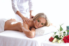 An attractive woman is getting spa treatment Royalty Free Stock Photo