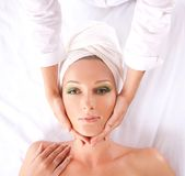 An attractive woman is getting spa treatment Stock Image