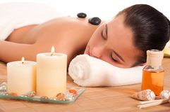 Attractive woman getting spa treatment. Royalty Free Stock Photography