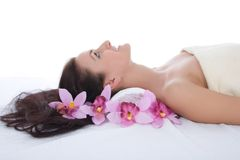 Attractive woman getting spa treatment Stock Photos