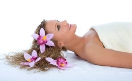 Attractive woman getting spa treatment royalty free stock photo