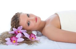 Attractive woman getting spa treatment Stock Image
