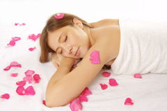 Attractive woman getting spa treatment Royalty Free Stock Images