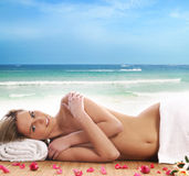 Attractive woman getting spa treatment Stock Photo