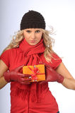 Attractive Woman with Gift Stock Photography
