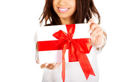 Attractive woman with gift box. Royalty Free Stock Photography