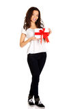 Attractive woman with gift box. Stock Photography