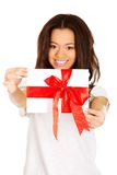 Attractive woman with gift box. Stock Image
