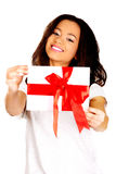 Attractive woman with gift box. Royalty Free Stock Photo