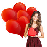 Attractive woman with gift box Royalty Free Stock Images