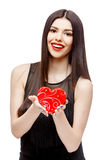 Attractive woman with gift box Stock Images