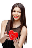 Attractive woman with gift box Royalty Free Stock Photo