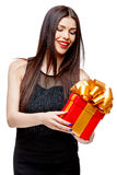 Attractive woman with gift box Royalty Free Stock Image
