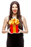 Attractive woman with gift box Royalty Free Stock Photos