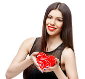 Attractive woman with gift box Stock Photos