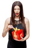 Attractive woman with gift box Royalty Free Stock Photography