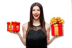 Attractive woman with gift box Stock Photography